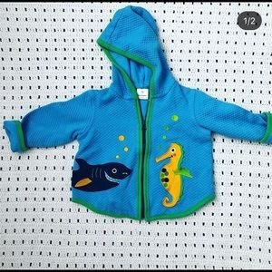 Hanna Andersson quilted hooded jacket ocean